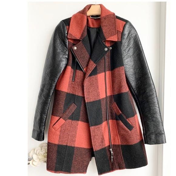 ASOS Noisy May faux leather checkered coat jacket
